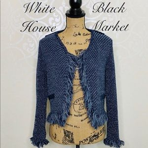 WHITE HOUSE BLACK MARKET FRINGED CARDIGAN